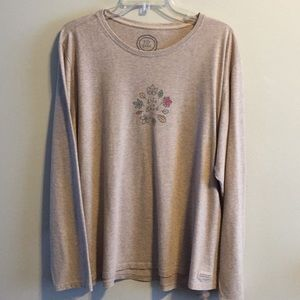 Life is Good Fall leaves print T-Shirt 2X